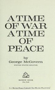 Cover of: A time of war, a time of peace
