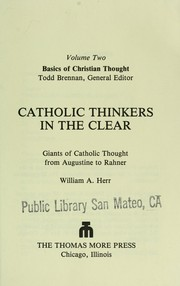 Cover of: Catholic thinkers in the clear
