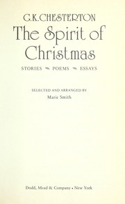 Cover of: The spirit of Christmas: stories, poems, essays
