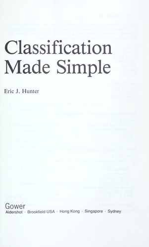 Classification made simple by Eric J. Hunter