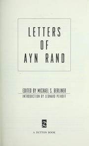 Letters of Ayn Rand by Ayn Rand