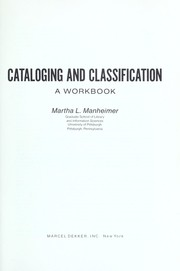 Cover of: Cataloging and classification by Martha L. Manheimer