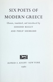 Cover of: Six poets of modern Greece