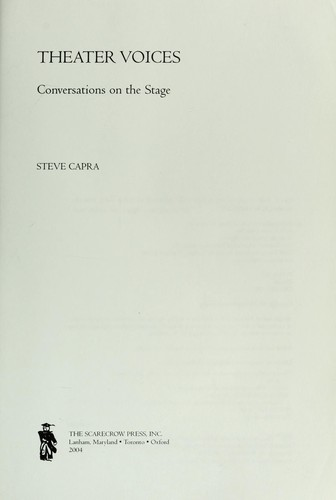 Theater voices : conversations on the stage by