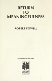 Cover of: Return to meaningfulness