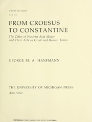 Cover of: From Croesus to Constantine | George Maxim Anossov Hanfmann