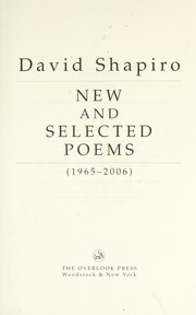 Cover of: New and selected poems (1965-2006)