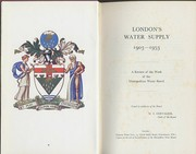 Cover of: London's water supply, 1903-1953 | Metropolitan Water Board.