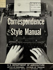 Cover of: Correspondence style manual | United States. Department of Agriculture. Office of Personnel