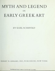 Cover of: Myth and legend in early Greek art