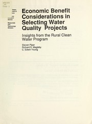 Cover of: Economic benefit considerations in selecting water quality projects