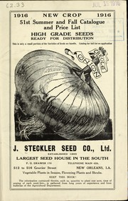 Cover of: 51st summer and fall catalogue and price list [of] high grade seeds ready for distribution