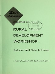 Cover of: Major addresses presented at Rural Development Workshop, Jackson