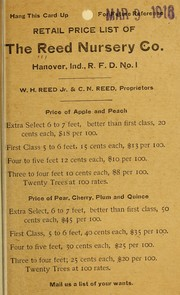 Cover of: Retail price list of the Reed Nursery Co