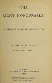 "Cover of: ""The right honourable"""
