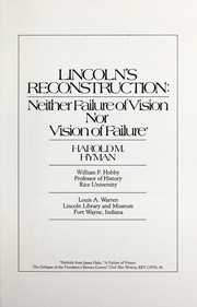 Lincoln's reconstruction by Harold Melvin Hyman
