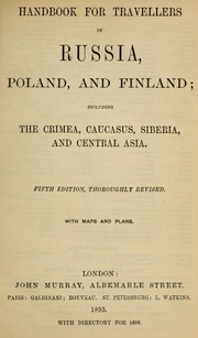 Cover of: Handbook for travellers in Russia, Poland, and Finland