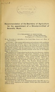 Cover of: Recommendation of Secretary of Agriculture for the appointment of Director-in-chief of scientific work