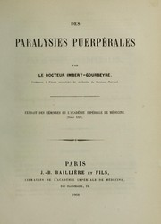 Cover of: Des paralysies puerp©♭rales