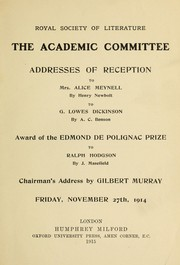 Addresses of reception by Royal Society of Literature (Great Britain). Academic Committee.