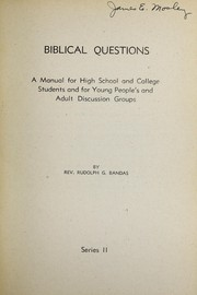 Cover of: Biblical questions | Rudolph G. Bandas