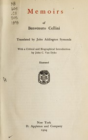 Cover of: Memoirs of Benvenuto Cellini