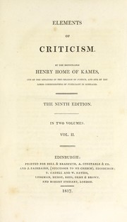Cover of: Elements of criticism