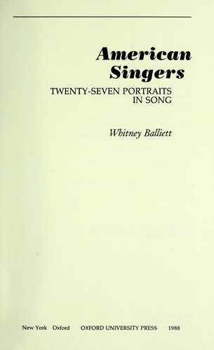 American singers : twenty-seven portraits in song by