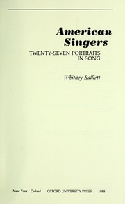 Cover of: American singers : twenty-seven portraits in song |