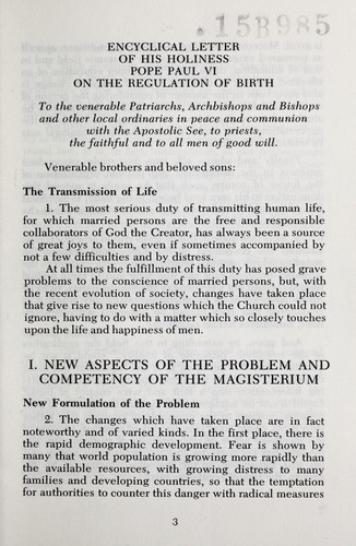 an analysis of the birth control issue discussed in on human life by pope paul vi in 1968 The papal encyclical: a fundamentalist revival by pope paul vi on matters of birth control and the way should be discussed within the.