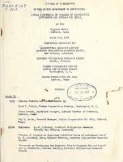 Journal of proceedings by Annual Conference on Problems of Cooperative Cottonseed and Soybean Oil Mills 1st (1955 Lubbock, Tex.)