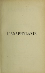 Cover of: L'anaphylaxie