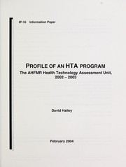 Cover of: Profile of an HTA program | David Hailey