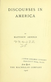Cover of: Discourses in America. | Matthew Arnold