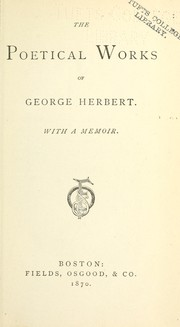 Cover of: The poetical works of George Herbert