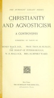 Cover of: Christianity and agnosticism