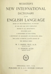 Cover of: Webster's New international dictionary of the English language