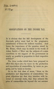 Cover of: Observations on the question, how can Sir Robert Peel's income tax be made more equitable