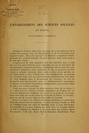 Cover of: L'Enseignement des sciences sociales en France