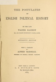 Cover of: The postulates of English political economy