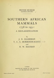 Cover of: Southern African mammals 1758 to 1951