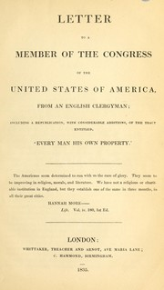 Cover of: Letter to a member of the Congress of the United States of America, from an English clergyman