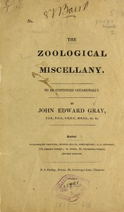 Cover of: The zoological miscellany