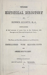 Cover of: Historical directory of Sussex County, New Jersey