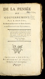 Cover of: De la pense e du gouvernement