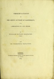 Cover of: Observations on the genus Ocytho©± of Rafinesque