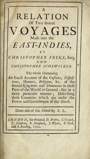 Cover of: A relation of two several voyages made into the East-Indies