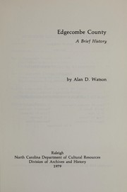 Cover of: Edgecombe County, a brief history