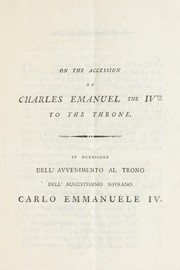 Cover of: On the accession of Charles Emanuel the IVth to the throne = | Frances Negri Gobbet
