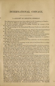Cover of: International coinage | United States. Congress. Senate. Committee on Finance